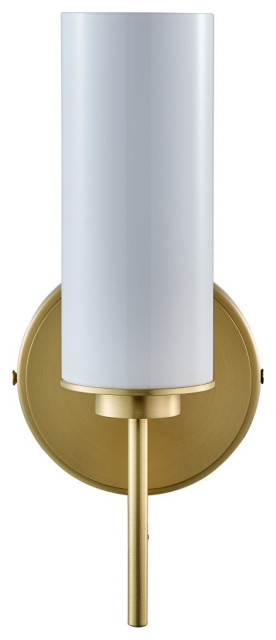 Napa Single Sconce, Brushed Brass With Glossy Frosted Glass