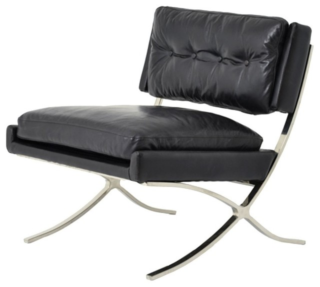Four hands home heathrow vintage black leather lounge for Black chaise lounge indoor