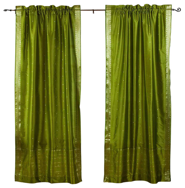 Shop Houzz Indian Selections Olive Green Rod Pocket