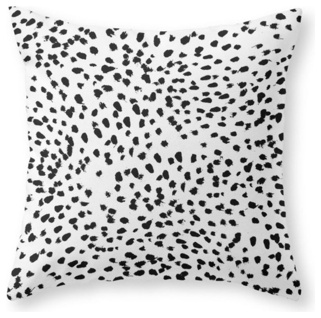 Nadia - Black And White, Animal Print, Dalmatian Spot, Spots, Dots, Bw Couch Thr contemporary-decorative-pillows
