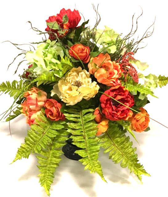 All Season Fall Peony Hydrangea Fern Tuscan Floral Arrangement
