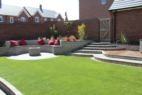 New build garden design Leicestershire before after
