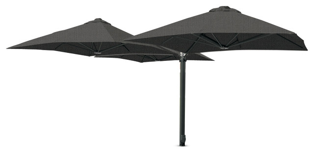 """8&x27;2"""" Square Trio Charcoal Tweed Umbrella, Surface Plate."""