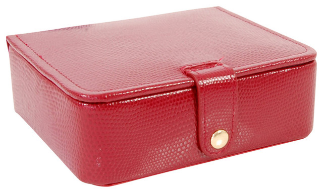 Lizard Print Calf Stud And Ring Box, Red