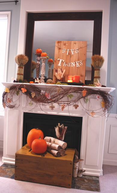 Thanksgiving Mantel - 2010 contemporary