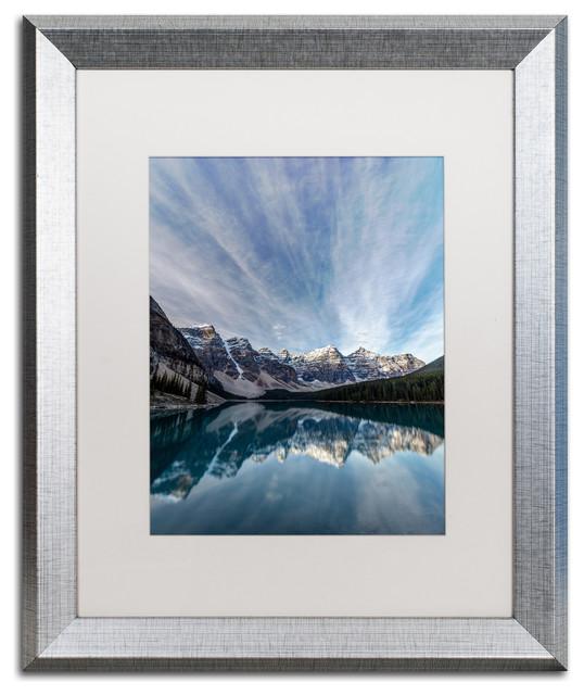 Pierre Leclerc &x27;moraine Lake Sky&x27; Matted Framed Art, Silver Frame, White, 20x16.