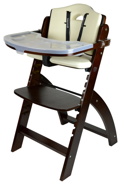 Marvelous Beyond Junior Wooden Highchair Mahogany Cream White Cushion Gmtry Best Dining Table And Chair Ideas Images Gmtryco