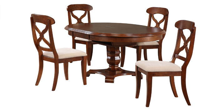 5 Piece Andrews Butterfly Leaf Dining Table Set | Chestnut