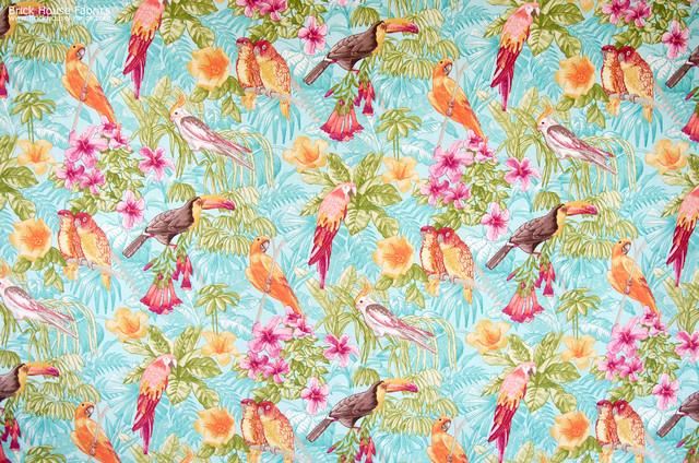Parrot fabric tropical cockatoo toucan lovebirds aqua