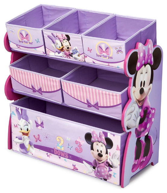 Kids Room Bedroom Storage Chest Unit Box With Lid For Sale: Stylish Design Purple Multi Bins Boxes Minnie Mouse Girls
