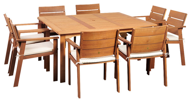 Nelson Eucalyptus 9 Piece Square Patio Dining Set Transitional Outdoor  Dining Sets