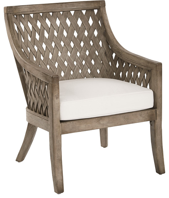 Plantation Lounge Chair With Cushion In Grey Wash Finish