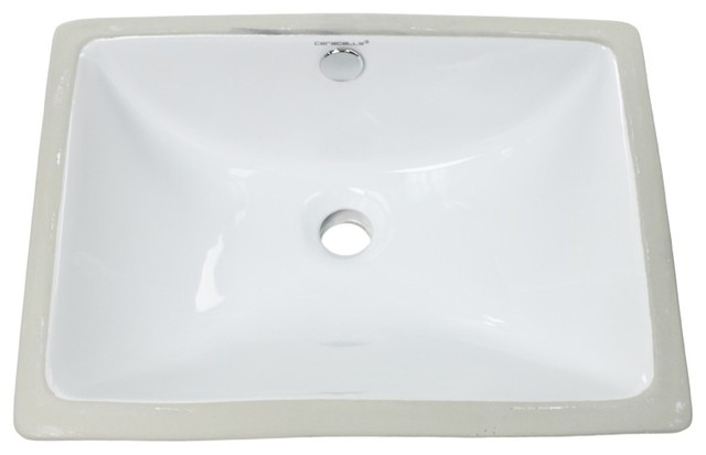 Rectangular Ceramic Undermount Bathroom Sink