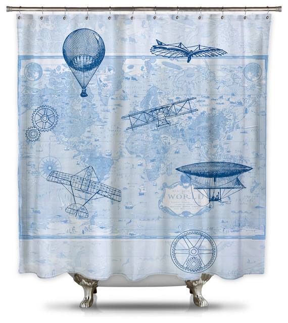 terry cloth shower curtain. Shower Curtain HQ  Brief History of Flight by Catherine Holcombe Fabric Standard Terry Cloth Houzz