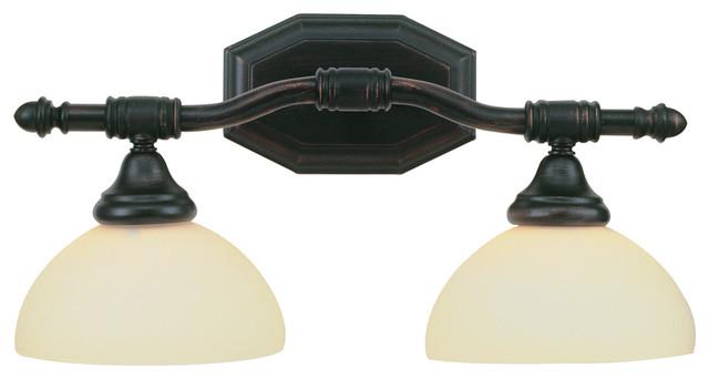 Brushed Nickel 2 Globe Vanity Bath Light Bar Interior: Trans Globe 2522 2-Light Bath Bar