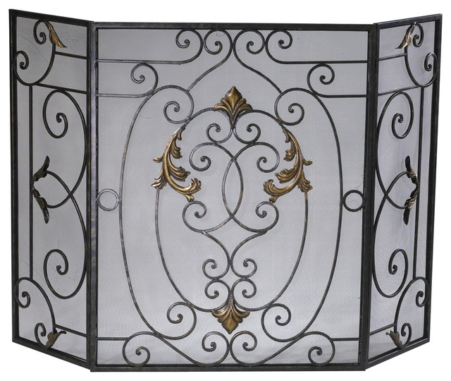 French Traditional Rust Iron Fireplace Screen With Gold Accents.