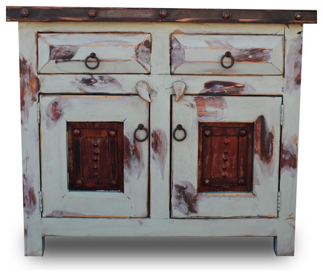 Distressed Bathroom Vanities distressed bathroom vanity with oxidized panels - southwestern