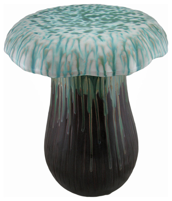 Green Brown Ceramic Mushroom Decorative Accent Stool Garden Stand  Accent And Garden Stools
