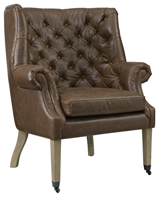 Chart Upholstered Vinyl Lounge Chair, Brown.