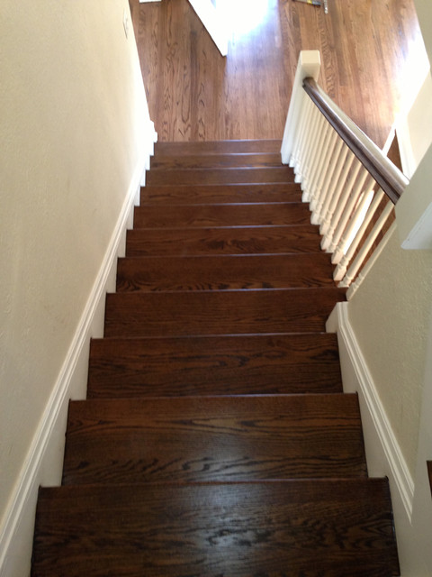 Red Oak Wood Floors With Dark Walnut Stain Traditional Chicago
