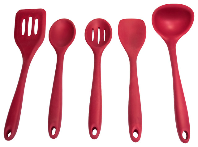 Sorbus silicone kitchen utensil set cherry red for Modern kitchen utensil