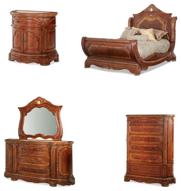 Cortina Sleigh Bedroom Set, 5-Piece Set - Traditional - Bedroom ...