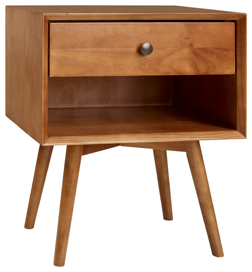 Mid-Century one-drawer solid wood nightstand with one open shelf.