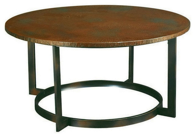 Rustic Hammered Copper Round Coffee Table.