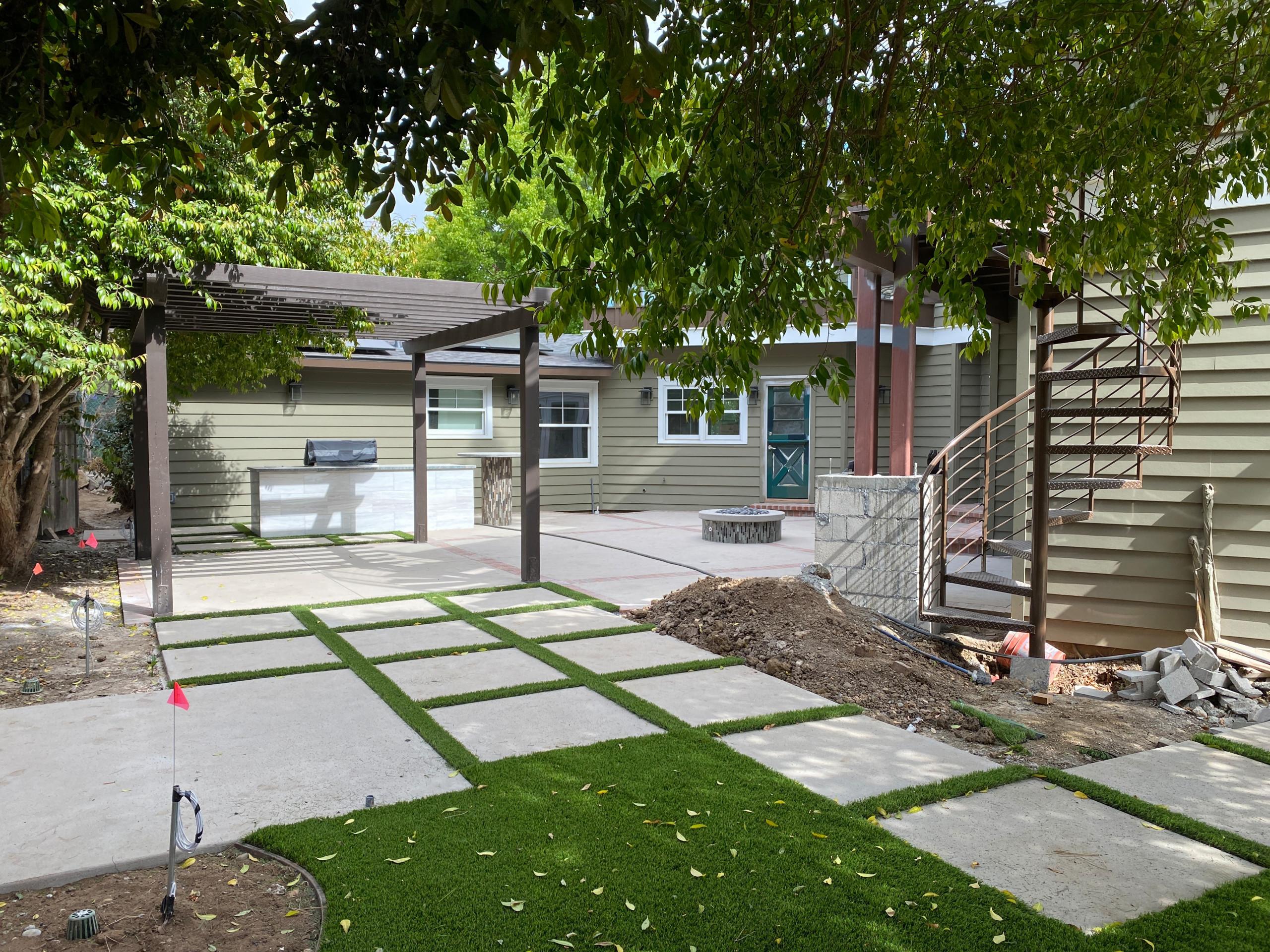Installing Artificial Turf in Backyard in La Jolla Backyard