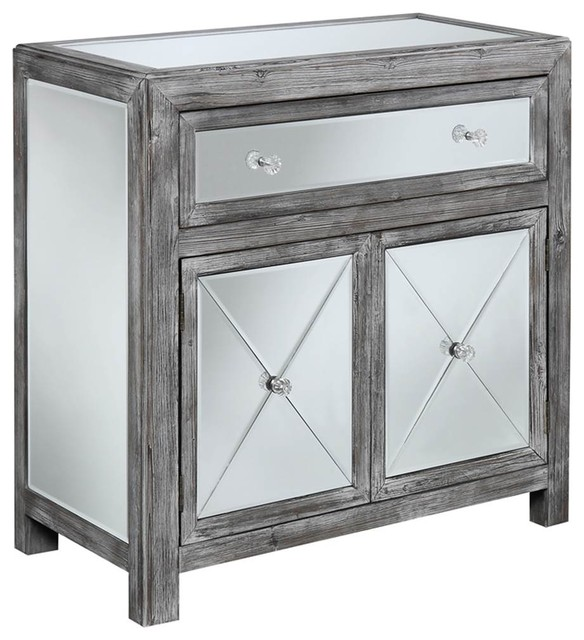 Weathered Gray Kitchen Cabinets: Mirrored Cabinet, Weathered Gray