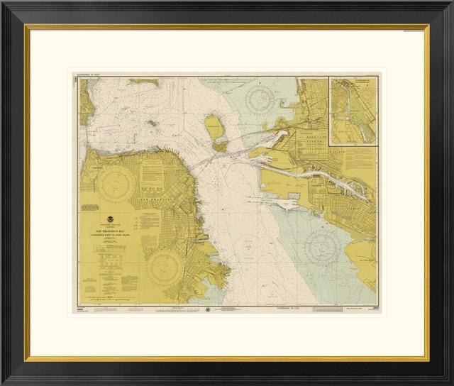 Nautical Chart San Francisco Bay 1975 Sepia Tinted 26