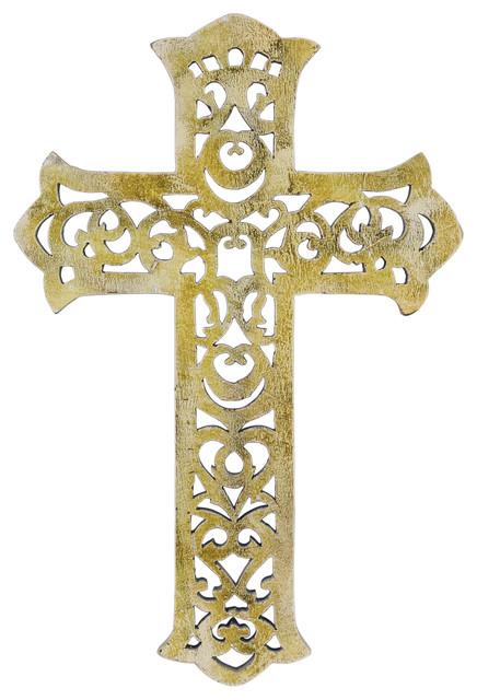 "Worn White Decorative Wooden Wall Cross, 15""."