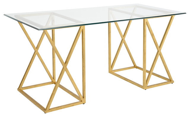 Chelsea House Gilt Gold Wrought Iron And Glass Top Desk