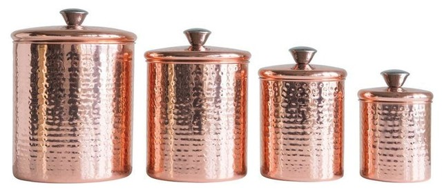 Hammered Stainless Steel Canisters with Copper Finish