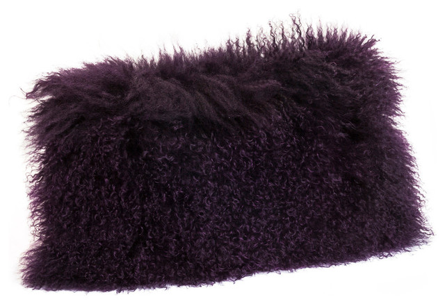 Lamb Fur Pillow Rectangle, Purple.