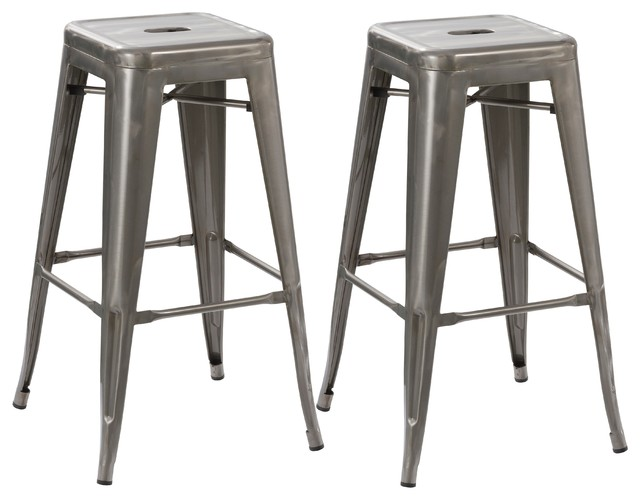 Stackable Distressed Steel Bar Stools Set of 2 Gunmetal industrial-bar- stools  sc 1 st  Houzz & Stackable Distressed Steel Bar Stools Set of 2 Gunmetal ... islam-shia.org