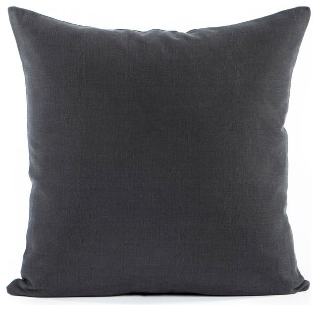 Solid Charcoal Gray Accent Throw Pillow Cover