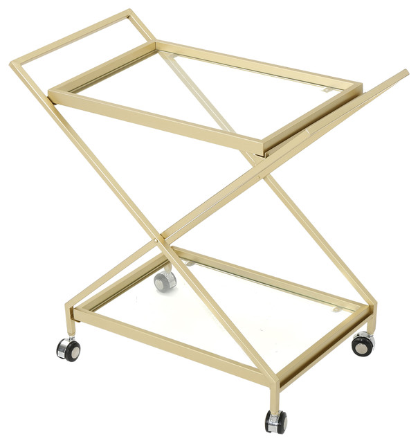Easter Indoor Industrial Iron And Glass Bar Cart, Gold.
