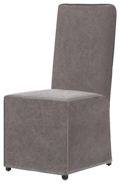 Jocelyn Modern Classic Natural Ecru Cotton Slipcovered Dining Chair.