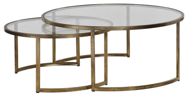 Set Of 2 Bronze Gold Nesting Coffee Tables Round Large Modern Minimalist