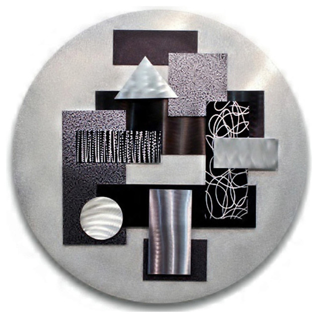 Silver And Black 3d Abstract Round Metal Wall Art Sculpture - Art Of The State.