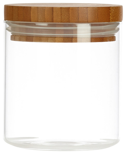 Glassery glassery airtight glass canister with wood lid for Kitchen set scandinavian