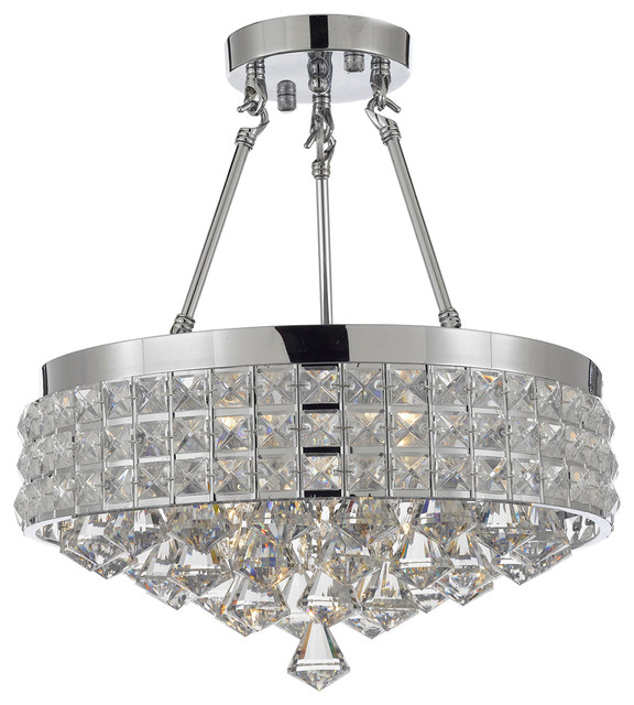 Semi-Flush Mount French Empire Crystal Chandelier, Chrome.