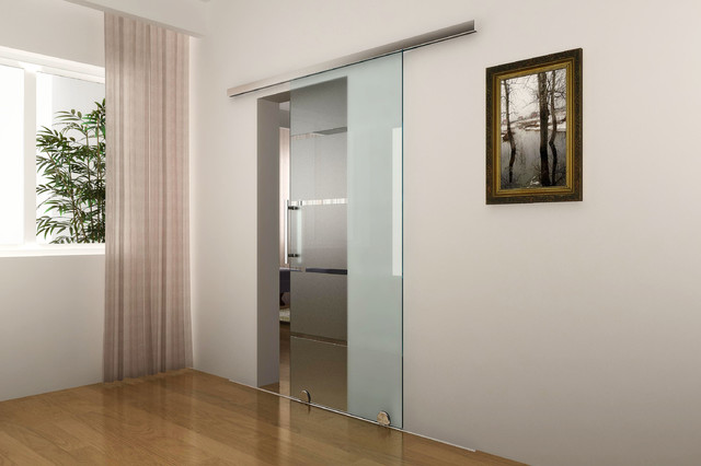 Modern Interior Glass Doors modern barn door hardware for glass door - modern - interior doors