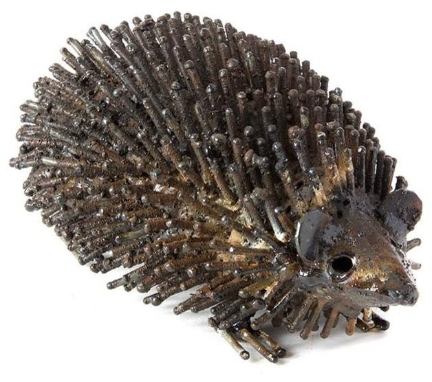 Recycled Metal Hedgehog Sculpture Industrial Garden