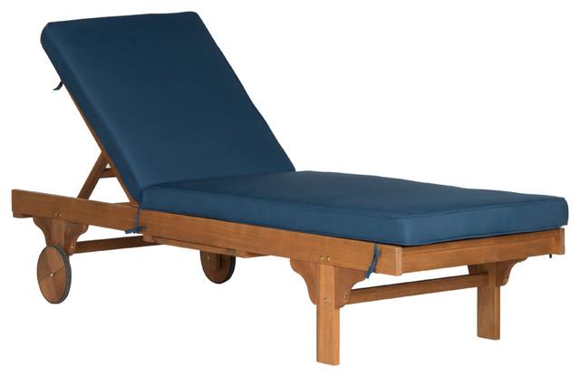 Safavieh Newport Chaise Outdoor Lounge Chair, Teak Brown, Navy