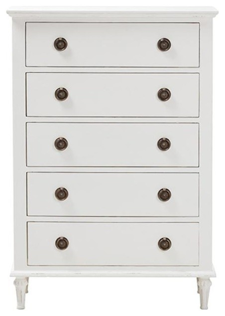 Venezia French Inspired Rustic Wood 5 Drawer Chest Traditional Dressers By Baxton Studio