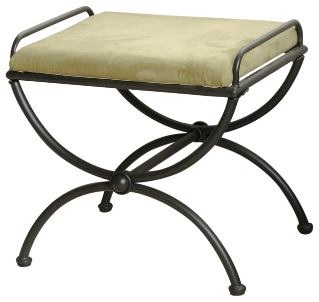Iron Upholstered Vanity Stool,sage.
