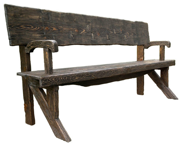 Rustic style outdoor bench natural wood finish rustic for Rustic outdoor bench plans