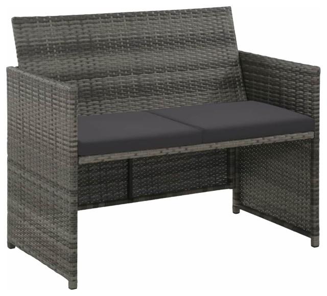 VidaXL 2-Seater Garden Sofa With Cushions, Gray
